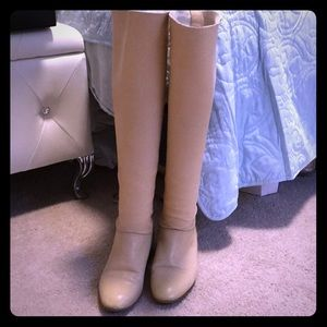 Chanel beige over the knee quilted leather boots